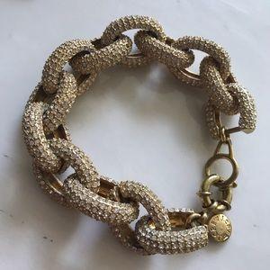 JCrew Chunky w/Crystals GoldtoneChainlink Bracelet